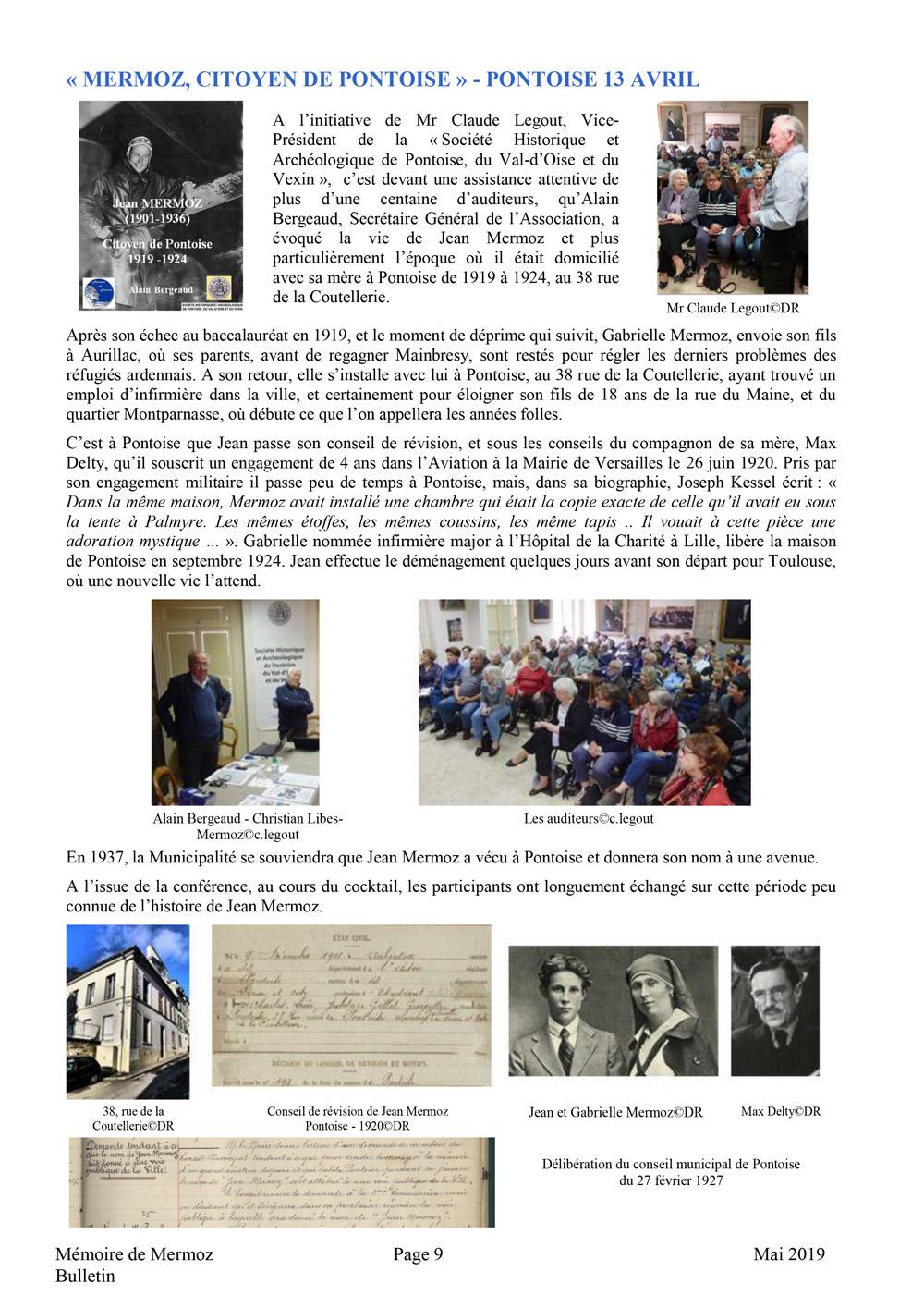 Rédactionnel Jean Mermoz citoyen de Pontoise - exposition et conférence - 13 avril 2019