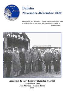"""Couverture du bulletin d'informations de l'association """"Mémoire de Mermoz"""" / Novembre - Décembre 2020"""