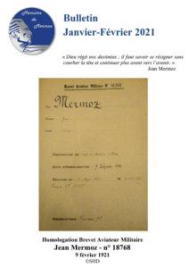 """Couverture du bulletin d'informations de l'association """"Mémoire de Mermoz"""" / Janvier / Février 2021"""